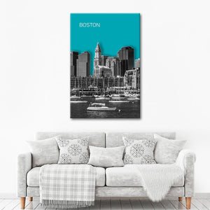 Modern Boston Skyline Multi Panel Canvas Wall Art - City