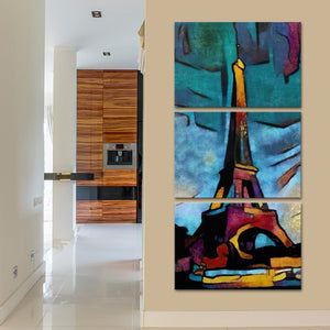 Modern Eiffel Tower Multi Panel Canvas Wall Art - Abstract