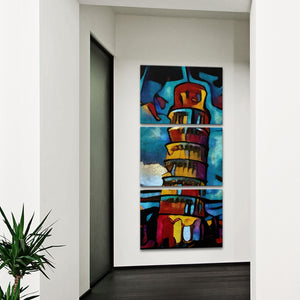 Modern Pisa Tower Multi Panel Canvas Wall Art - Abstract