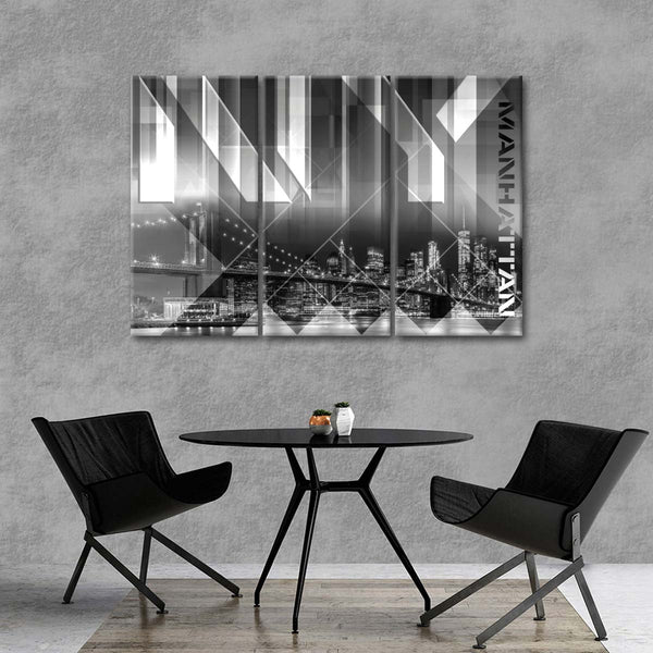 Modern View Brooklyn Bridge Multi Panel Canvas Wall Art