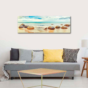 Moeraki Beach Multi Panel Canvas Wall Art - Beach