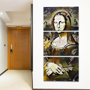 Mona Lisa Smile Multi Panel Canvas Wall Art - Abstract