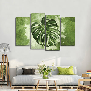 Monstera Leaf Multi Panel Canvas Wall Art - Botanical
