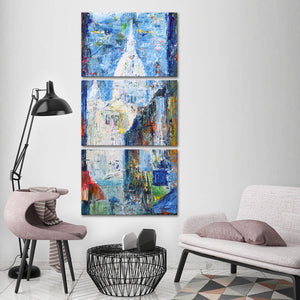 Montmartre Hill Multi Panel Canvas Wall Art - Paris