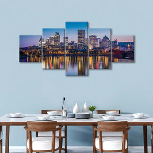 Montreal City Reflection Multi Panel Canvas Wall Art - City