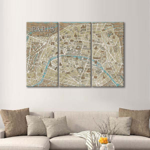 Monuments of Paris Map Blue Multi Panel Canvas Wall Art - City_maps