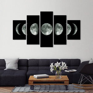 Moon Cycle Multi Panel Canvas Wall Art - Astronomy