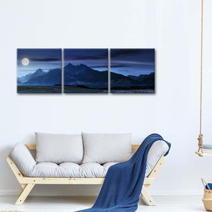 Moon Over Tatra Mountains Multi Panel Canvas Wall Art - Nature