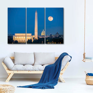 Moon Over Washington Multi Panel Canvas Wall Art - America