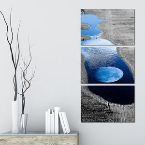 Moon Reflection Pop Multi Panel Canvas Wall Art - Astronomy