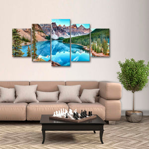 Moraine Lake In Banff National Park Multi Panel Canvas Wall Art - Nature