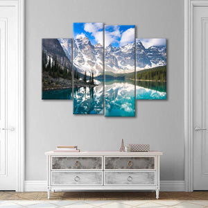 Moraine Mountain Reflection Multi Panel Canvas Wall Art - Nature
