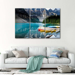 Moraine Lake Kayaks Multi Panel Canvas Wall Art - Kayak