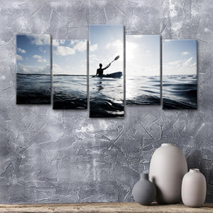 Morning Kayaking Multi Panel Canvas Wall Art - Kayak