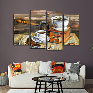 Morning Coffee Multi Panel Canvas Wall Art - Coffee