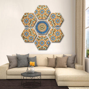 Moroccan Ceramic Tile Multi Panel Canvas Wall Art - Abstract