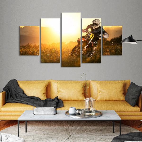 MotoCross Multi Panel Canvas Wall Art | ElephantStock