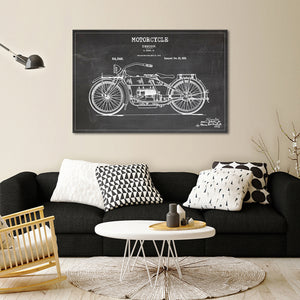 Motorcycle Patent BW Canvas Wall Art - Bike