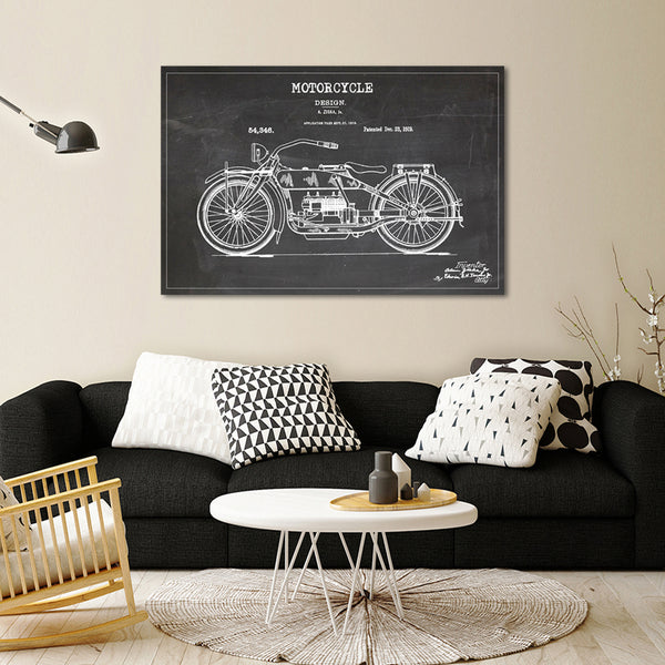 Motorcycle Patent BW Canvas Wall Art