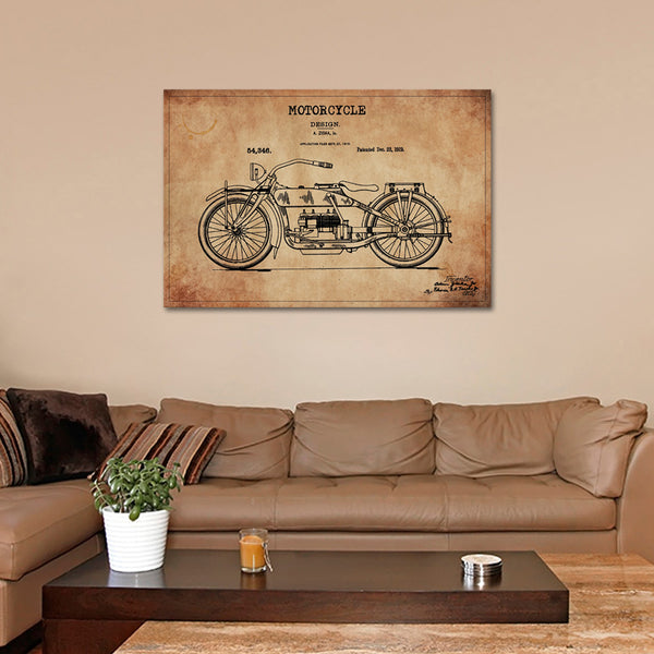 Motorcycle Patent Canvas Wall Art