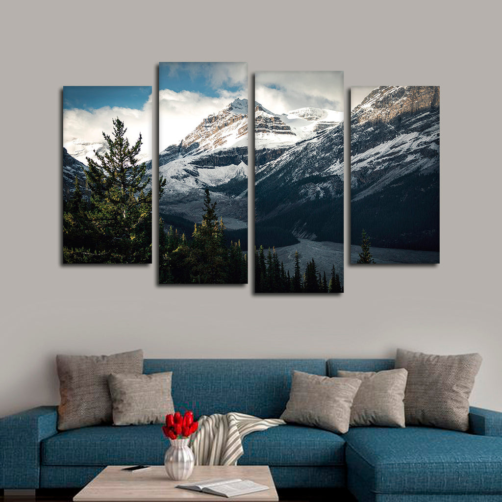 mountain top multi panel canvas wall art elephantstock. Black Bedroom Furniture Sets. Home Design Ideas