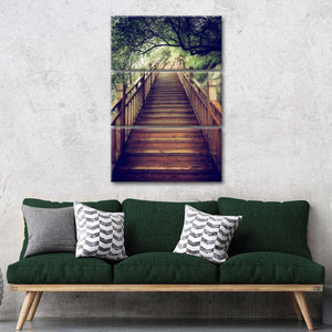Mountain Wooden Staircase Multi Panel Canvas Wall Art - Stairs