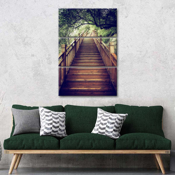 Mountain Wooden Staircase Multi Panel Canvas Wall Art