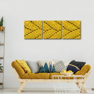 Mustard Crochet Multi Panel Canvas Wall Art - Fabric