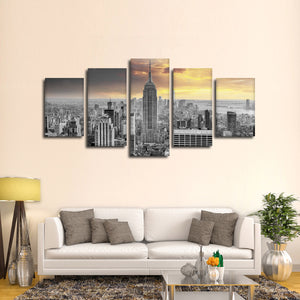 NYC At Sunset Pop Multi Panel Canvas Wall Art - City