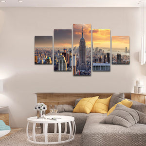 NYC at Sunset Multi Panel Canvas Wall Art - City
