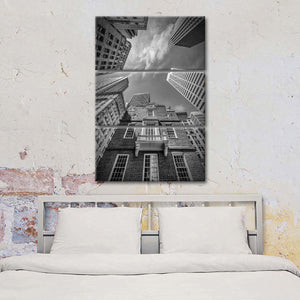 Boston Old State House Monochrome Multi Panel Canvas Wall Art - City