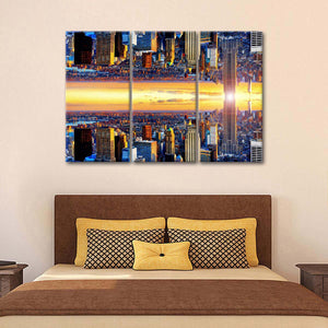 NYC Double Sided Multi Panel Canvas Wall Art - City