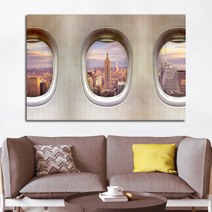 NYC From Window Seat Multi Panel Canvas Wall Art - Airplane