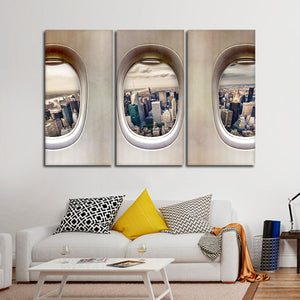 NYC Plane View Multi Panel Canvas Wall Art - Airplane