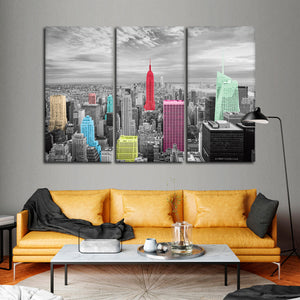 NYC Skyline Pop Multi Panel Canvas Wall Art - City