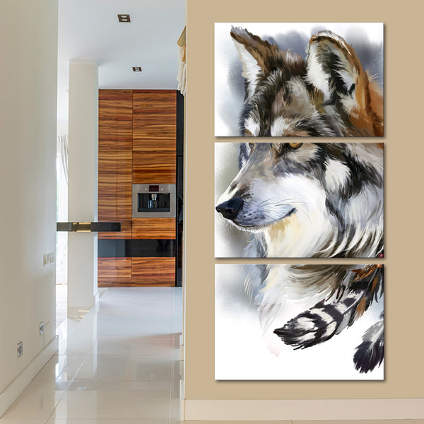 Native Wolf Multi Panel Canvas Wall Art