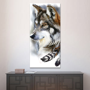 Native Wolf Multi Panel Canvas Wall Art - Wolf