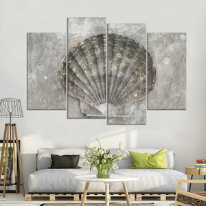 Scallop Shell Multi Panel Canvas Wall Art - Nautical