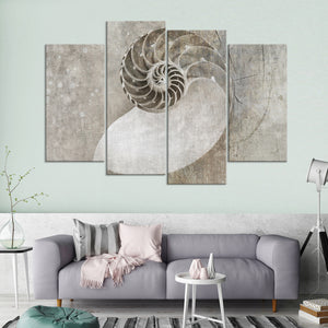 Spiral Seashell Multi Panel Canvas Wall Art - Nautical