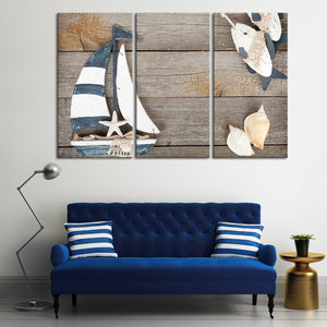 Nautical Sailing Multi Panel Canvas Wall Art - Boat