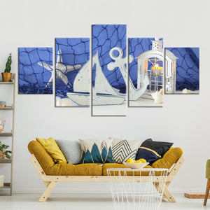 Nautical Candlelight Multi Panel Canvas Wall Art - Nautical