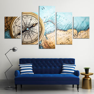 Life By Compass Multi Panel Canvas Wall Art - Nautical