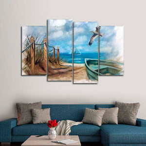 A Day In Nantucket Multi Panel Canvas Wall Art - Nautical