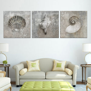 Seashell Fusion Canvas Set Wall Art - Nautical