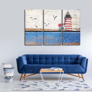 Nautical Lighthouse Multi Panel Canvas Wall Art - Nautical