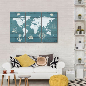 Nautical World Map Multi Panel Canvas Wall Art - World_map