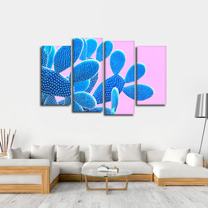 Neon Cactus Multi Panel Canvas Wall Art - Botanical