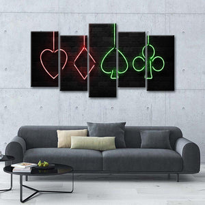 Neon Card Symbols Multi Panel Canvas Wall Art - Gambling