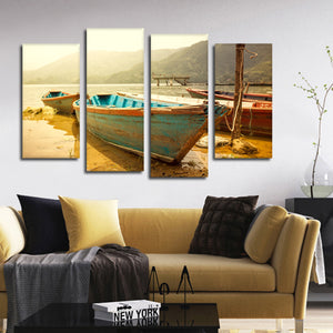 Nepalese Boat Ride Multi Panel Canvas Wall Art - Boat