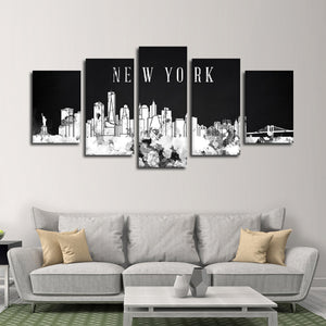 NYC Watercolor Skyline BW Multi Panel Canvas Wall Art - City